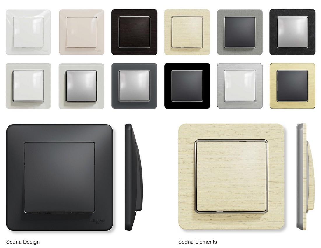 Obr. 1. SEDNA Design-Elements - ukázka barev a designů - vypínače