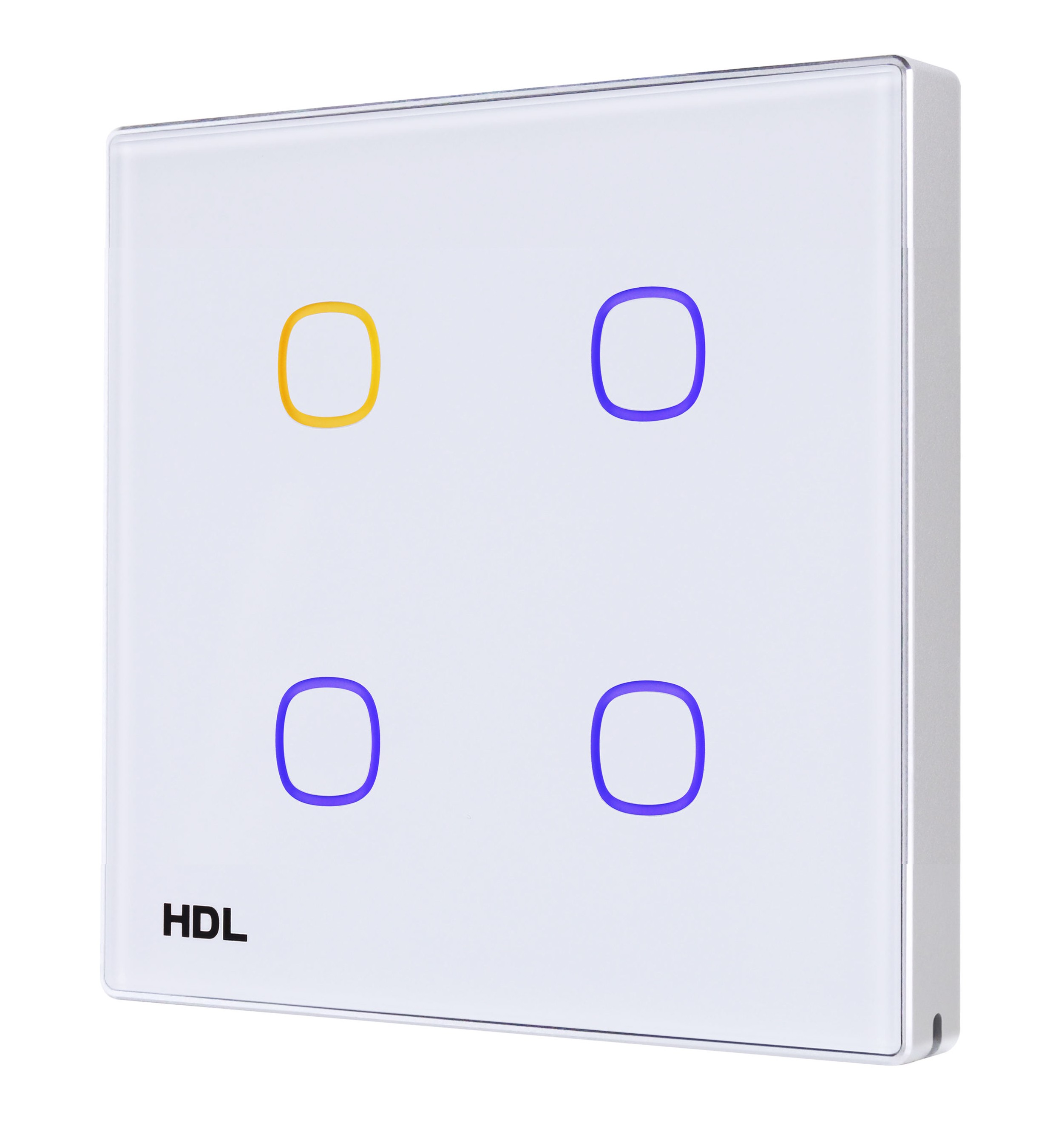 Obr. 1. Příklad nástěnného ovladače HDL řady iTouch; individuálně nastavitelné barvy podsvícení dotykových bodů indikují stav zapnuto/ vypnuto