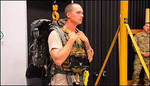 American soldiers testing new exoskeletons