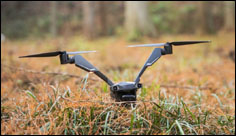 Fewer propellors mean more battery-life for the Falcon bicopter drone
